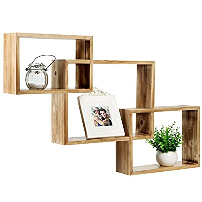 MyGift Wall-Mounted Torched Natural Brown Wood Interlocking Shadow Boxes, Floating Box Display Shelves, Set of 3 - Set of 3 interlocking wooden wall-mounted shadow boxes. A country rustic style unique wall mounted wood shelf in a light torched wood finish. The geometric shelf design is composed of 3 overlying rectangular boxes. - wall-shelves, living-room-furniture, living-room - 411sqCKyJAL. SS400  -