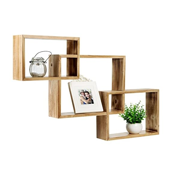 MyGift Wall-Mounted Torched Natural Brown Wood Interlocking Shadow Boxes, Floating Box Display Shelves, Set of 3 - Set of 3 interlocking wooden wall-mounted shadow boxes. A country rustic style unique wall mounted wood shelf in a light torched wood finish. The geometric shelf design is composed of 3 overlying rectangular boxes. - wall-shelves, living-room-furniture, living-room - 411sqCKyJAL. SS570  -