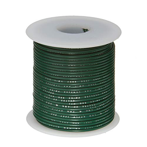"""22 AWG Gauge Solid Hook Up Wire Green, 100 Ft 0.0253"""" UL1007 300 Volts"""