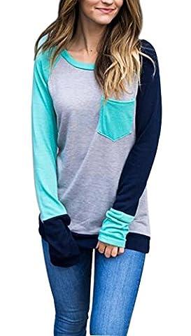 Womens Casual Long Sleeve Crewneck Color Block Pocket Shirt Baseball T Shirt size M (Blue) - Long Sleeve Raglan Baseball
