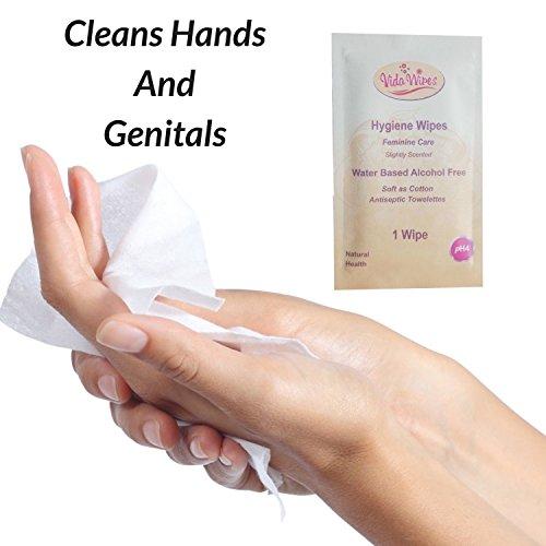Toallitas húmedas para mujer Higiene íntima Paños de limpieza   Copa antiséptica menstrual y lavado genital   Carteras individuales biodegradables para ...