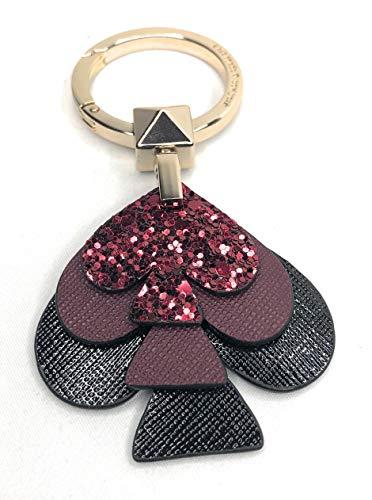Kate Spade Stacked Spade Glitter Key FOBS Bag Charm Black Cherry