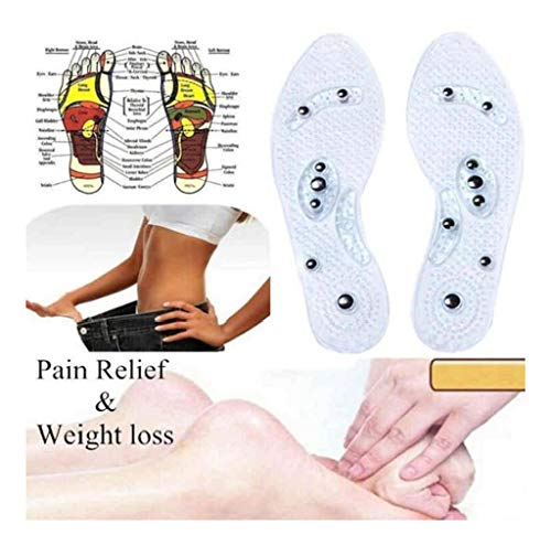 Viet's Insoles Massage Insoles, Health Foot Magnetic Therapy Magnet Acupressure Foot Care Cushion Shoe/Boots Pads for Men Women Clear - Women