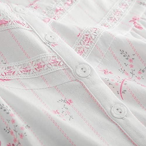 Keyocean Women Nightgowns, 100% Cotton Soft Warm Lightweight Long Sleeve Lounge-wear Sleepwear for Fall Winter