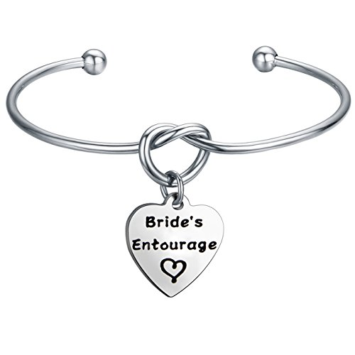 FEELMEM Bridesmaid Jewelry Bridesmaid Gifts- Simple Love Knot with Heart-Shaped Engraved Message Charm Bangle Bracelet- Wedding Wishes Gift for Women Girl (Bride's Entourage)