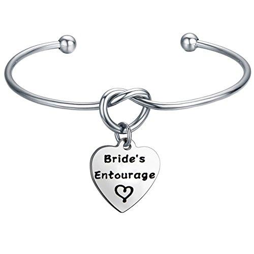 FEELMEM Bride's Entourage Love Knot Bangle Bracelet Wedding Jewelry Bridal Shower Bachelorette Party Gift (silver) by FEELMEM