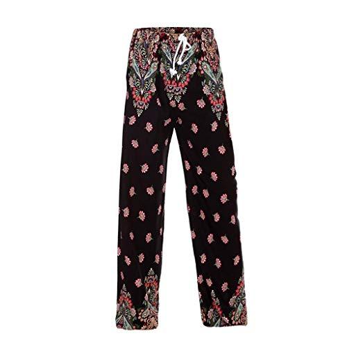 Womens Elastic Waist Wide Leg Cotton Line Tie-Dye Boho Baggy Pants Soft Breathable Wide Leg Cropped Pant Yoga Trousers with Drawstring