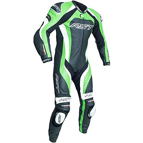 (RST Tractech Evo 3 CE Leather Motorcycle Race Suit Green Size)