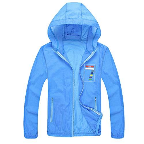 JJLIKER Mens Unisex Long Sleeve Sun Protection Clothing Sunscreen Sunblock Zip Front Tops Sportswear with Pocket Blue ()