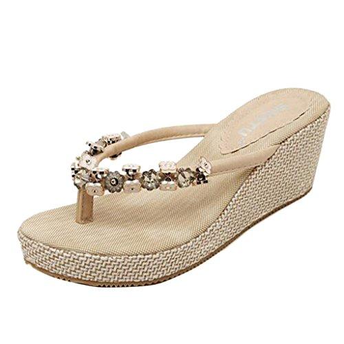 Sandalen Aprikose Perlen Damen Binying Wedge Fw6zpq