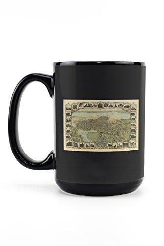 California Ca Panoramic Map - Oakland, California Panoramic Map (15oz Black Ceramic Mug - Dishwasher and Microwave Safe)