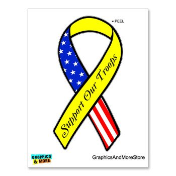 Support our Troops Ribbon - USA Flag Yellow - Window Bumper Locker Sticker