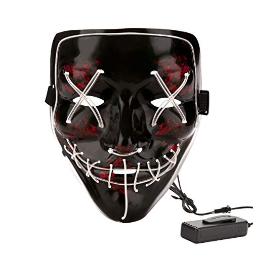 Halloween Costume Festival Parties Scary Mask LED Light Up Masks White -