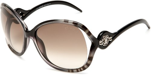 Roberto Cavalli Womens RC575SSW05F Squared Wrap Sunglasses,Black Frame/Brown Lens,One - Cavalli Sunglass