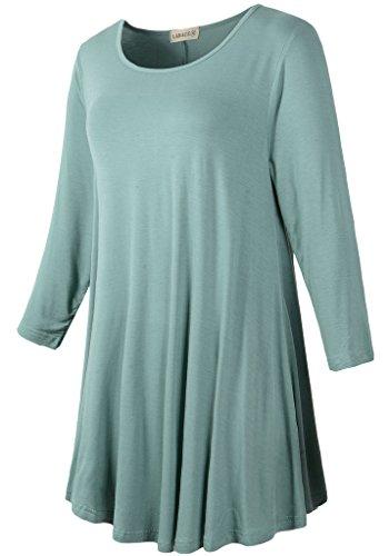 20e1657a37c Larace Women 3 4 Sleeve Tunic Top Loose Fit Flare T-Shirt(3X ...