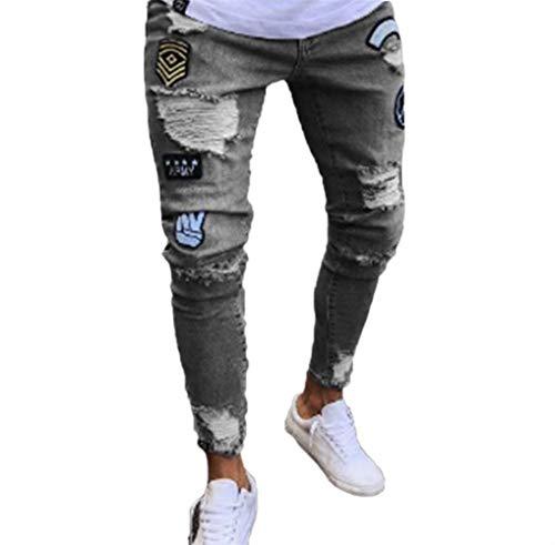 Classiche Da Strappati Grau Jeans Ragazzi Con Pantaloni Vintage Aderenti Uomo Elasticizzati Moda Casual 1Yw75q0