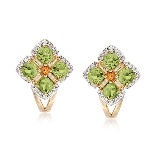 Diamond Citrine And Earrings (Ross-Simons 1.20 ct. t.w. Peridot and .13 ct. t.w. Diamond Earrings With Citrine Accents in 14kt Yellow Gold)