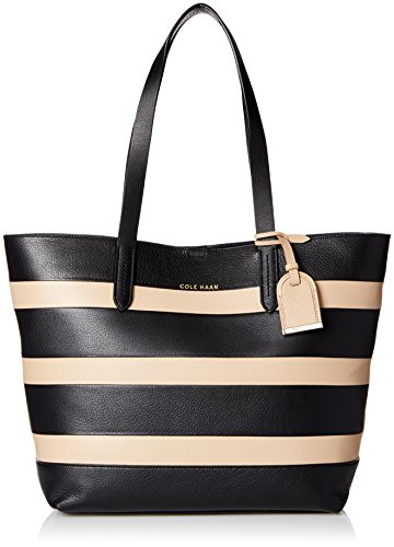 Cole Haan Palermo Small Travel Tote, Black/Sandstone Stripe, One Size