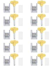 10 sets voor schuifdeur en raamslot, van aluminium, schuifdeurslot, veiligheidsslot, met sleutel