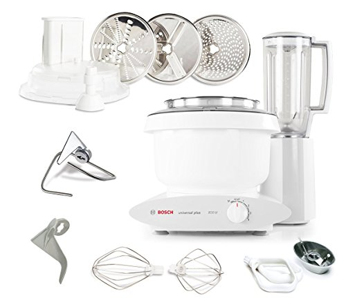 Bosch MUM6N10UC Universal Plus Stand Mixer, 800 Watt, 6.5-Qts ; Blender, Cookie Paddles, and Large Slicer Shredder