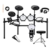 Donner DED-200 Electronic Kit with Mesh Head 8 Piece, Drum Throne, Sticks Headphone and Audio Cable Included, More Stable Iron Metal Support Set