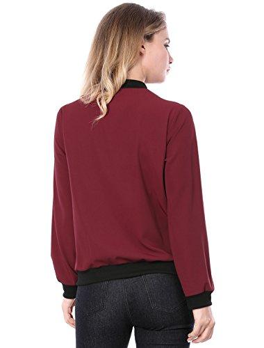 Zip Jacket Women's Front Pocket K Lightweight Multi Red Allegra Bomber Casual qzwxHXX7