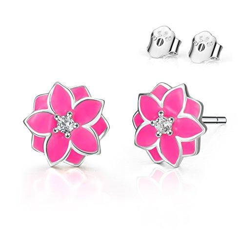 POPLYKE Stud Earrings for Girls Sterling Silver Enamel Pink Flower Earrings