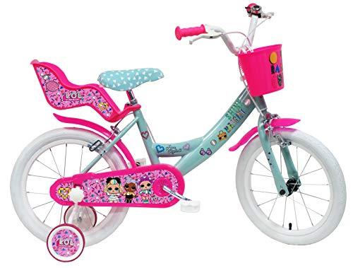 LOL meisjesfiets 16 inch (40,6 cm), met 2 remmen, fietsmandje voor, poppenzitje, spatborden en zijwieltjes, turquoise…
