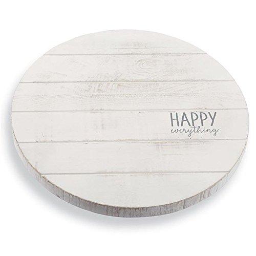 Mud Pie 4075140 Happy Everything Lazy Susan Kitchenware, 2.25 inch x 16.5 inch diameter, White