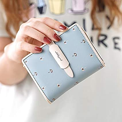Color : Pink Color : Off-White LanDream New Short Ladies Wallet Simple 30/% Draw Belt Printing Student Cute Wallet Tide Women Purse