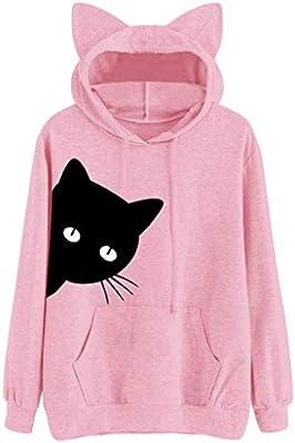 Cat Print Long Sleeve Hoodie Sweatshirt Hooded Pullover Blouse Tops Women