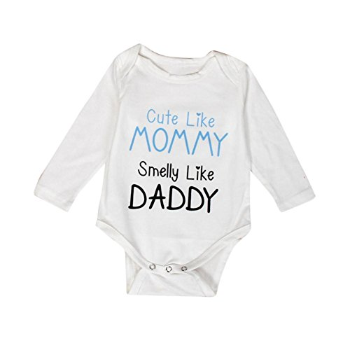 GBSELL Newborn Infant Baby Boy Girl Long Sleeve Letter Print Romper Jumpsuit Clothes (White, 3 month)