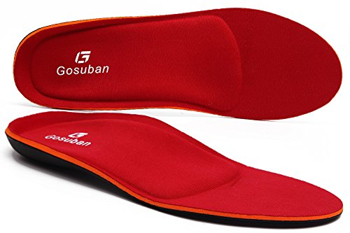 Gosuban Orthotic Insoles for Flat Feet,Arch Support Shoe Inserts Against Plantar Fasciitis,Overpronation,Relieve Heel Pain,Feet Pain,Men and Women,Full Length(Mens 8-8.5 / Womens 10-10.5,Red