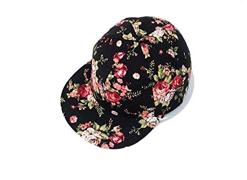 28b8a877394 Amazon.com  Glamorstar Women s Floral Flower Snapback Hip-Hop Cap Baseball  Hat Headwear Black  Clothing