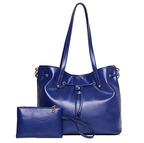 Mujer Nuevo Compuesto Bolsa De Dos Piezas Traje Europa Y Los Estados Unidos Moda Tendencia PU solo Hombro Bolsa Bolso Bolsa Blue