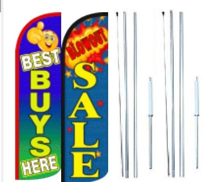 Best Buys Here Blowout Sale King Windless Flag Sign With Complete Hybrid Pole set - Pack of 2 by OnPoint Wares