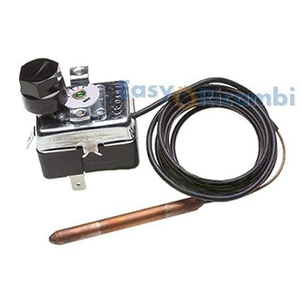 Termostato seguridad para estufa de pellets capilar 1,5 Mt 90 110 grados rearme manual