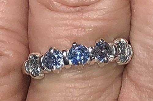 - Montana Sapphire 5 Stone Decco Band Ring Sterling Silver