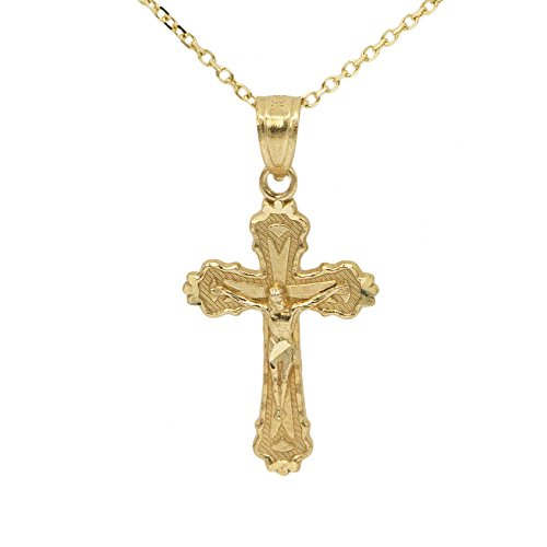 Ice on Fire Jewelry 10k Yellow Gold Diamond Cut Finish Jesus Piece Crucifix Pendant Necklace (16