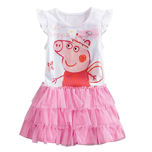 [LaLaMa Little Girls' Pink Style Cartoon Pig Princess Costume Tutu Dress Skirt 5-6Y] (Little Pig Costumes)