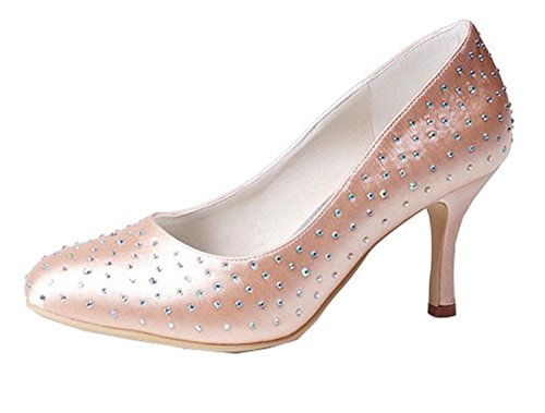 Minitoo GYMZ633 Womens Pointed Toe Kitten Heel Satin Bridal Wedding Rivets Shoes CHAMPAGNE-7cm Heel F6HRd