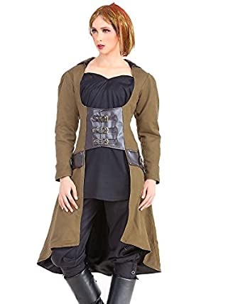 Steampunk Jacket | Steampunk Coat, Overcoat, Cape Steampunk Victorian Gothic Womens Costume Under-bust Vampire Trench Coat $74.00 AT vintagedancer.com