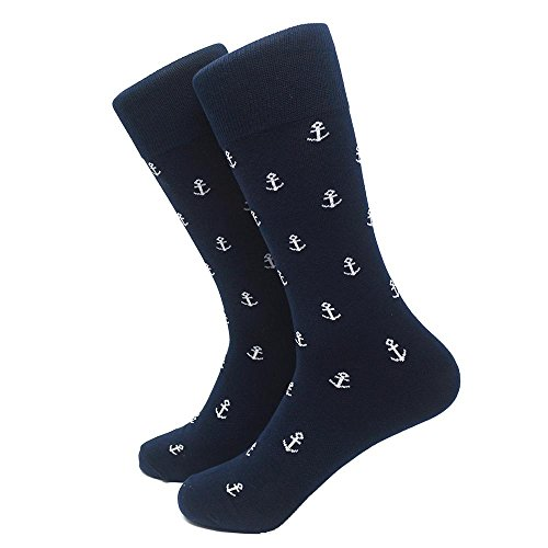 SummerTies Anchor Mens Dress Socks - White on ()