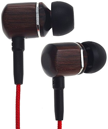 Symphonized MTRX Premium Genuine Wood In-ear Noise-isolating Headphones with Mic and Nylon Cable, Red