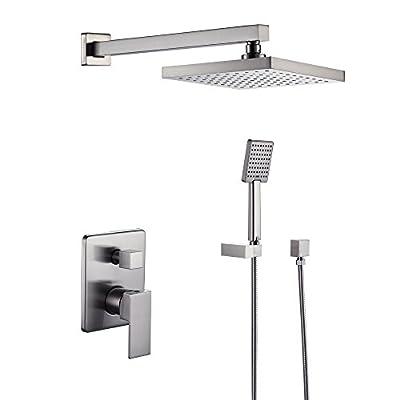 KES Shower System Bathroom Single Handle Shower Faucet Trim Valve Body Hand Shower Complete Kit Pressure Balance Modern Square, Brushed Nickel, XB6223-2