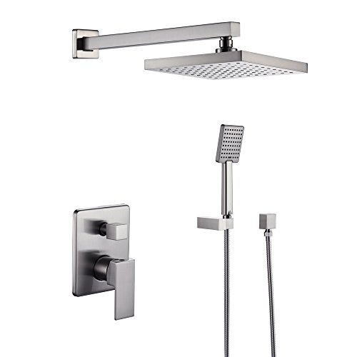 KES Bathroom Shower Faucet Set Brushed Nickel Single Handle Brass Rough-in Valve Body Hand Shower Trim Arm and Showerhead Supply Albow Complete Kit Modern Square, X6223-2 by Kes