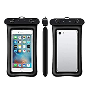 "Universal Diving Waterproof Case, CellPhone Dustproof Dry Bag Pouch for iPhone 8/8 Plus/X/7/7 Plus/6S/6/6S Plus/SE/5S/5,Galaxy S8/S8 Plus/Note 8 6 5, Pixel 2 up to 6.1"" -Black"