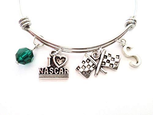 Nascar Themed Personalized Bangle Bracelet