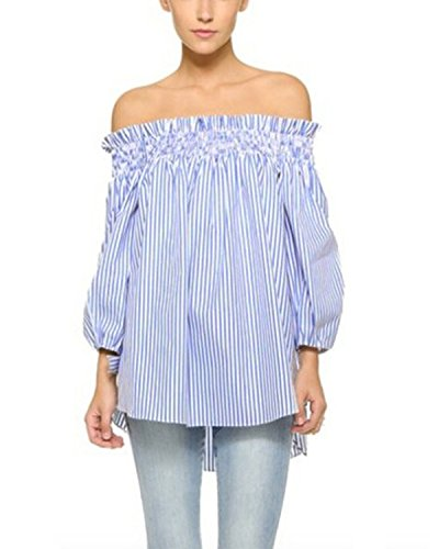 (ZANZEA Women's Plus Size Off Shoulder 3/4 Sleeve Loose Long Tops Blouse Shirt Blue Stripe US 8/Asian S)