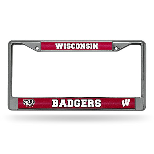 NCAA Wisconsin Badgers Bling Chrome License Plate Frame with Glitter - Frame Plate Wisconsin Badgers License
